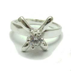 Sterling silver ring solid 925 with 5mm cubic zirconia R001730 Empress #Empress