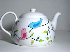 Ceramic Teapot Painted Birds on Branch by PrettyMyDrink on Etsy, $60.00