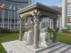 The Persian Scholars Pavilion at United Nations in Vienna, Austria featuring the statues of four prominent Iranian figures. Highlighting the Iranian architectural features, the pavilion is adorned with Persian art forms and includes the statues of Avicenna, Abu Rayhan Birouni, Zakariya Razi (Rhazes) and Omar Khayyam.