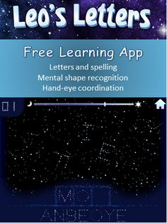 FREE game app helping kids learn letters and spelling - kids will also improve mental shape recognition and hand-eye coordination. Free Learning Apps, Learning Time, Kids Learning Activities, Learning Letters, Alphabet Activities, Toddler Activities, For Elise, Letter Recognition, Kids Education
