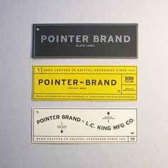 Pointer Brand Hang Tags by Cranky Pressman Clean typography vintage black white grey yellow industrial bold font pointer brand Ticket Design, Label Design, Branding Design, Logo Design, Vintage Graphic Design, Graphic Design Typography, Graphic Design Inspiration, Web Design, Layout Design