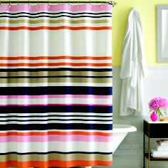 Kate Spade candy shop stripe shower curtain. One of our faves <3