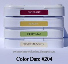 Color My Heart Color Dare: Color Dare #204--Eggplant, Flaxen, Sweet Leaf and Colonial White