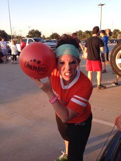 Tough Ashley dodgeball look