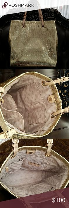 MICHAEL KORS Monogram Gold Metallic bag Michael Kors bag like new Michael Kors Bags Totes