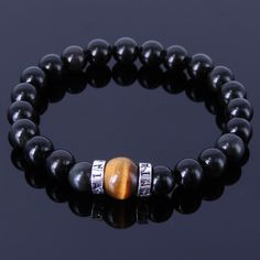 Handmade Gemstone Bracelet Black Obsidian Tiger Eye Sterling Silver Men Women #Handmade #Gemstone925SterlingSilverBraceletMenWomen