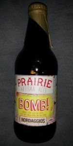 Prairie Bomb! is a American Double / Imperial Stout style beer brewed by Prairie Artisan Ales in Krebs, OK. 100 out of 100 with 2443 ratings, reviews and opinions.