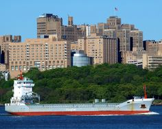 FLINTERMAAS Cargo Ship on the Hudson River, New York City from the New Jersey side