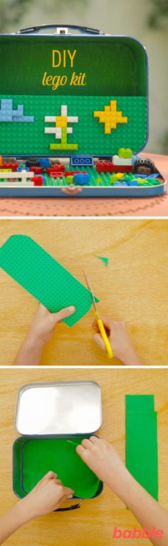 Do your kids always seem to be misplacing legos? This DIY Lego Kit is an easy solution! Just grab a lunchbox and create this perfectly portable toy kit for summer picnics or vacations. Toddler Crafts, Toddler Toys, Baby Toys, Kids Toys, Diy For Kids, Crafts For Kids, Diy Crafts, Woodworking Projects For Kids, Diy Projects