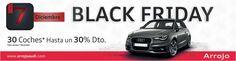 Este viernes 7 de diciembre celebramos nuestro particular Black Friday. Tendrás la oportunidad de comprar alguno de los Audi nuevos que tenemos en stock, entre los que destacan los A3, A3 Sportback y Q3 u optar por nuestros vehículos Km.0 o seminuevos con menos de 10.000 km. Recuerda, estos superdescuentos solo serán efectivos durante el Black Friday. No lo dejes pasar.  * Esta oferta solo es válida el viernes 7 de diciembre de 2012 en el concesionario Arrojo, Avenida das Mariñas, 285,  A…