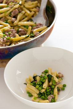 pasta with bangers & mashed peas-2 by jules:stonesoup, via Flickr