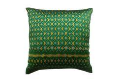 Cambodian Silk Ikat Pillow, Green