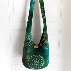Hobo Bag Burlap Batik Sling Bag Green Geometric Boho by 2LeftHandz, $34.00