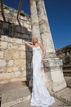 shabi and israel wedding dresses 2015 strapless sweetheart neckline sheath mermaid dress bridal gown