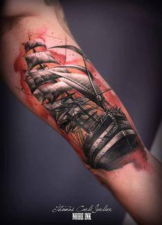 Sailing Ship Bicep Tattoo http://tattooideas247.com/sailing-ship-bicep/