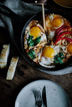 Skillet Fried Eggs with Tomatoes & Goat Cheese