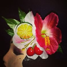 Large pink and white flowers with fruit and tropical leaves...available for $13 Plus shipping. ..leave your email to purchase.  #deadlydinaaccessories #fruit #cherries #pinktones #tropical #hawaiin #tiki #tikioasis #luau #rocknluau #hairflowers #hairpiece #hairaccessories #pinup #retro #vintage #rockabilly