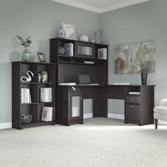 Work in style with the L Shaped Desk with Hutch and 6 Cube Bookcase in Espresso Oak. Enjoy a beautiful traditional look with smart features for your convenience. The L Shaped Desk design provides a large durable work surface and just the right amount of storage to keep you feeling neat and organized. Desk storage details include an enclosed cabinet with stylish fluted glass door and a box drawer for supplies. A file drawer glides on smooth full-extension ball bearing slides and accommodates…