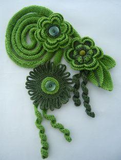 Crochet scarf lariat belt headband  detachable brooch   www.etsy.com/shop/CraftsbySigita