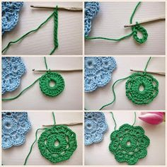 Do not miss these 34 magnificent flower patterns in crochet, with step by step tutorial. The crochet flowers are very useful … Read more. Crochet Flower Tutorial, Crochet Diy, Crochet Motifs, Crochet Flower Patterns, Crochet Patterns For Beginners, Crochet Squares, Love Crochet, Beautiful Crochet, Irish Crochet