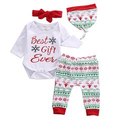 >> Click to Buy << 4Pcs Christams Infant Baby Boy Girl Clothes Fashion Christmas Snowflake Romper +Print Pants+ Hat+Headband Xmas Baby Clothing Set #Affiliate