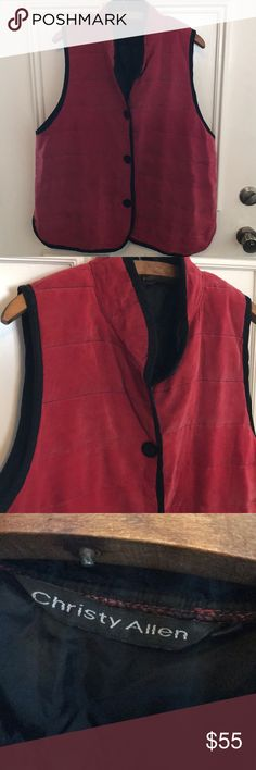 """Christy Allen red quilted vest Lightly quilted. A fun throw on over everything style. 23"""" bust, 29"""" long, rayon but feels like silk, machine wash. Size large, great condition!! christy allen Jackets & Coats Vests"""