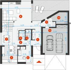 Nowoczesny 2 - DOMY Z WIZJĄ Floor Plans, House Ideas, Architecture, House, Floor Plan Drawing, House Floor Plans