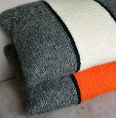 Pillow, Cushion, Hand Knitted, Wool, White, Grey, Tweed, Stripe, Black, Modern. £45.00, via Etsy.