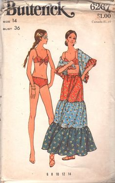 1970s Butterick 6267 Misses Bikini Tiered Skirt and by mbchills