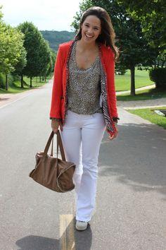 Orange Blazer + White Jeans