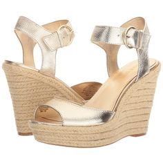 Nine West Jerrika (Gold Metallic) Women's Shoes ($63) ❤ liked on Polyvore featuring shoes, sandals, platform sandals, peep toe wedge sandals, high heels sandals, wedge sandals and high heel wedge sandals