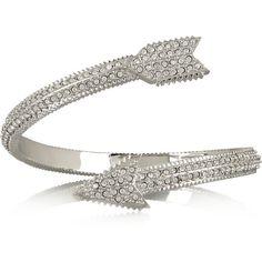 Eddie Borgo Silver-plated crystal arrow bracelet ($190) ❤ liked on Polyvore