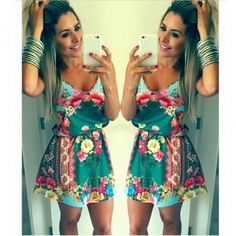 Sexy V Neck Spaghetti Strap Sleeveless Floral Print Blending Mini Dress #PinoftheDay @iamalovelywoman