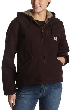 Carhartt Women's Sandstone Duck Sierra Jacket/Sherpa-Lined,Deep Wine,Medium. 100% Cotton, 100% Nylon, 100% Polyester, 55% Polyester, 45% Acrylic. Princess back seams. Imported. Machine wash warm - separately. 12-ounce, heavyweight, 100% cotton sandstone duck. Dimensions: width: -1, height: -1 inches.