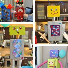 Recycled and Painted Robots : party decor