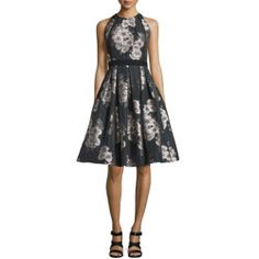 7576c28a0a8 Carmen Marc Valvo Sleeveless Floral Jacquard Party Dress online   gt  gt  gt