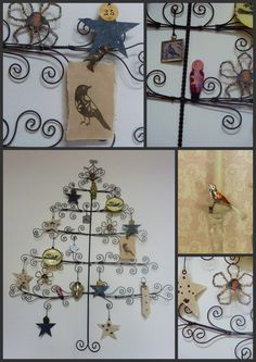 Love this wire tree...I have one that is similar that holds Christmas cards!!!