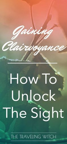 Gaining Clairvoyance: How To Unlock The Sight // Psychic Development // The Traveling Witch Psychic Development, Spiritual Development, Psychic Abilities, Psychic Powers, Psychic Mediums, Psychic Readings, Spirit Guides, Book Of Shadows, Wiccan