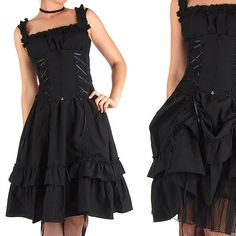 Black Cotton Gothic Dress