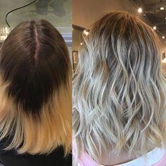 Balayage, blonde hair, short haircut, rooty blonde, smudge ...