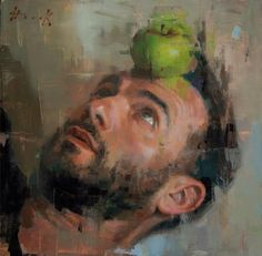 Self Portrait with Apple Green by Christian Hook - submitted as entry for Sky Arts Portrait Artist of the Year 2014