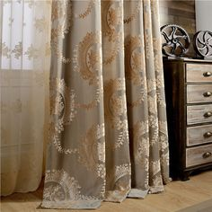 Floral Burnout Velvet Curtains: Curtains blend in pretty floral and burnout velvet pattern. Sale $44.99 (Was $90.00) Velvet Curtains, Lace Curtains, Curtain Fabric, Peacock Bathroom, Furniture Placement, Living Room Colors, Colorful Furniture, My Dream Home, Cool Designs