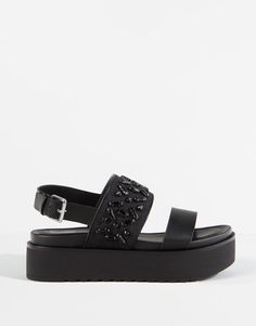 Pull&Bear - zapatos - novedades - sandalia bloque joyas - negro - 11750111-V2016
