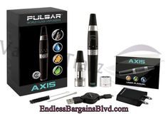 Pulsar Axis Vaporizer Sale | Pulsar | VapourTrailz  Features:  1-2 Charge-up time LED Display 15 Automatic Shut-Off Feature Silicone Mouthpiece Pocket-sized and lightweight 5 Click lock feature Stand-up charging dock Kit Includes:  2- Atomizer Tanks (Dry Herb/Wax & 1- 350 mAh Rechargeable Battery 1- Mag-Secure Charging Port 1- Cleaning Brush 1- Material tool 1- Retractable USB charge cord 1- AC Wall Charger 1- User manual