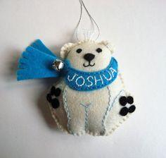 Personalized Polar Bear Ornament Felt Polar by heartfeltwhimsy