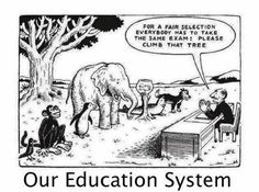 The problem with our education system...we do not all have the same abilities, talents or interests....yet we are all measured on the same scale and the same topics