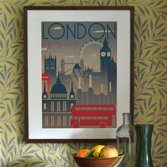 Vintage style art print - designed by Kate Sampson  London themed, illustrating famous landmarks.  A3 – 297 x 420mm* Printed on high quality thick 300g Conqueror paper, in a soft tone of white with a beautiful wove finish. Posted rolled in a tube.   A2 – 420 x 594mm* Printed on 180g semi-gloss paper, posted rolled in a tube. Please allow a possible extra 2 days despatch time for this size.   A1 – 594 x 841mm* Printed on 180g semi-gloss paper, posted rolled in a tube. Please allow a possible…