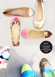 DIY: Kate Spade inspired colour tipped flats