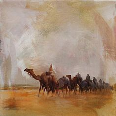Camels And Desert 15 Print by Mahnoor Shah