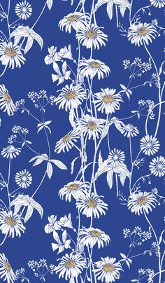 Monochrome seamless floral pattern with daisies. Blue and white flowers in the vector. art, aster, b Pattern Design Drawing, Flower Pattern Design, Flower Patterns, Textile Texture, Textile Prints, Wildflower Tattoo, Texture Drawing, Floral Drawing, Simple Wallpapers